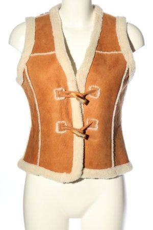 Brigitte von Boch Leren vest licht Oranje-wolwit casual uitstraling