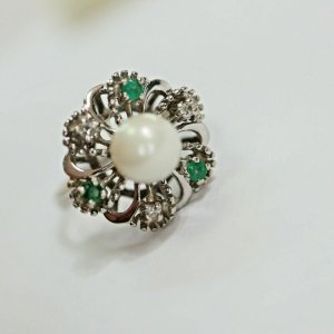 Brillant 585 14kt Weißgold Ring Perle Smaragd grün gold goldring 70er