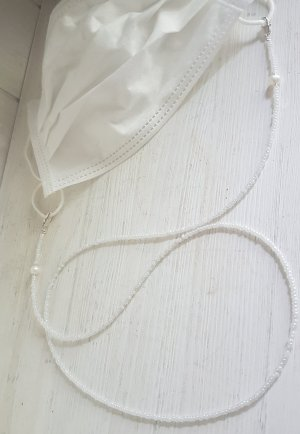 Handmade Collier de perles blanc-argenté