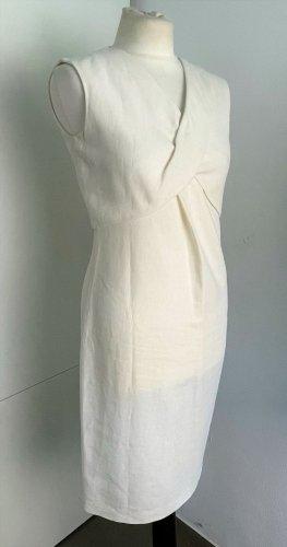 Brioni Sheath Dress natural white-oatmeal linen