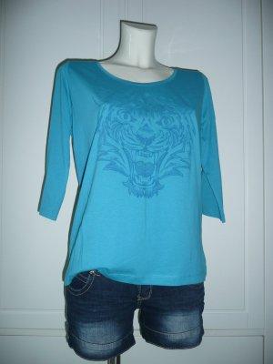 Broadway BNYC Eyecatcher Kurzarm T-Shirt Türkis Front mit Tiger Kopf Print Gr M