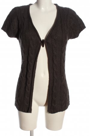 Broadway Short Sleeve Knitted Jacket brown cable stitch casual look