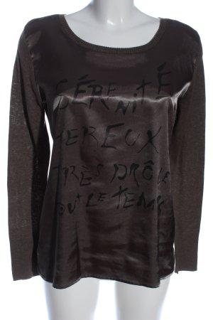 Broadway Langarm-Bluse braun-schwarz Schriftzug gedruckt Casual-Look