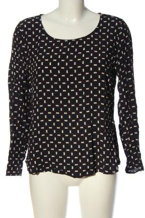 Broadway Langarm-Bluse schwarz-weiß Allover-Druck klassischer Stil
