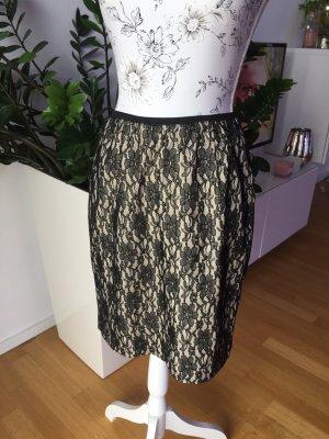 Broadway Falda de encaje negro-crema Poliéster