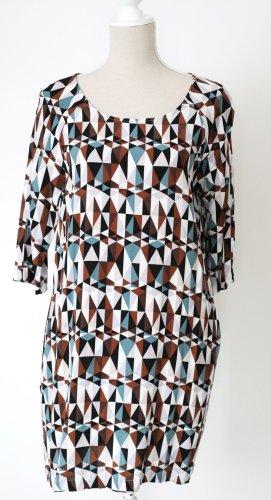 Broadway NYC Kleid Midikleid gerader Schnitt M 38 40 braun weiß blau schwarz * mit seitlichen Taschen