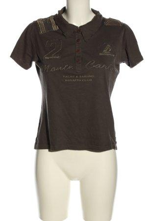 Broadway Polo-Shirt braun-goldfarben Schriftzug gedruckt Casual-Look