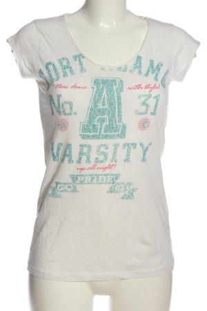 Broadway Print-Shirt weiß-türkis Schriftzug gedruckt Casual-Look
