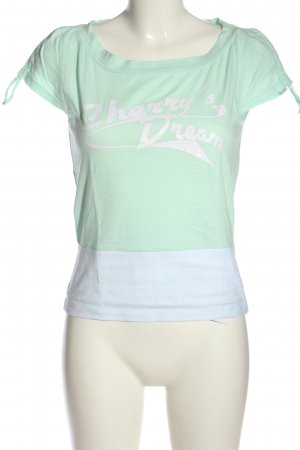 Broadway Print Shirt green-white printed lettering casual look