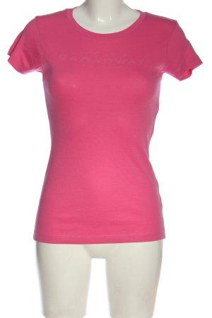 Broadway T-shirt imprimé rose lettrage imprimé style décontracté
