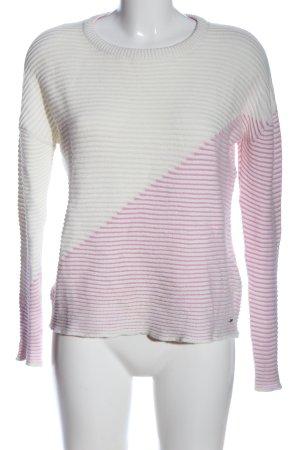 Broadway Maglione girocollo bianco-rosa motivo a righe stile casual