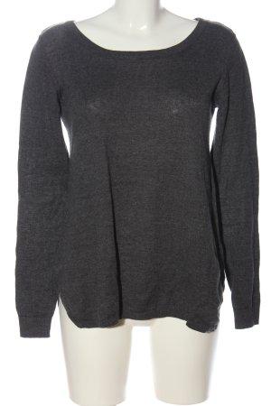 Broadway Kraagloze sweater lichtgrijs gestippeld casual uitstraling
