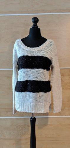 Broadway Strickpullover weiß schwarz gestreift Wolle Größe L