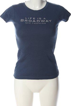 Broadway T-Shirt blau-weiß Schriftzug gedruckt Casual-Look