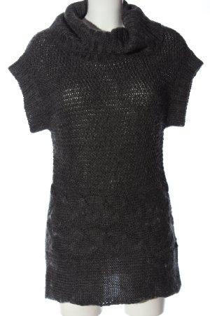 Brodway Maglione a maniche corte nero punto treccia stile casual