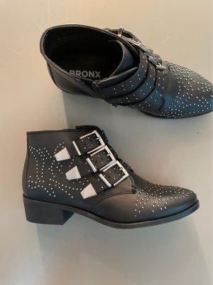 Bronx Botki czarny-srebrny Skóra