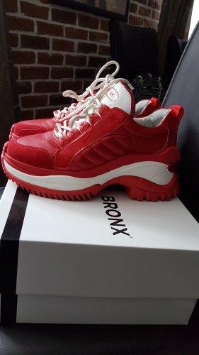 BRONX Leder Sneaker Rot-Weiß, Größe 38 / 38,5 NEUWERTIG