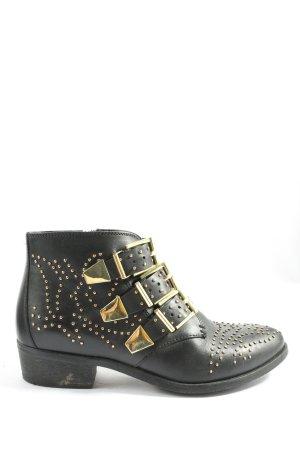 Bronx Reißverschluss-Stiefeletten schwarz-goldfarben Casual-Look
