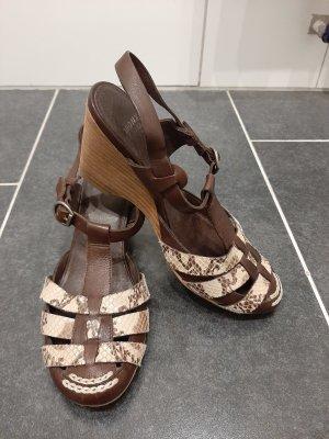 BRONX Sandalen braun Gr. 36 Keilabsatz