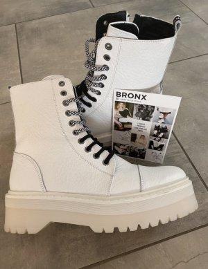 Bronx Bottes à lacets blanc-noir cuir