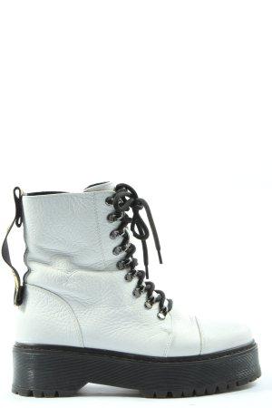 Bronx Schnürschuhe weiß-schwarz Schriftzug gedruckt Casual-Look