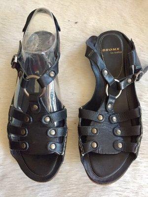 Bronx Sandalen met bandjes zwart Leer