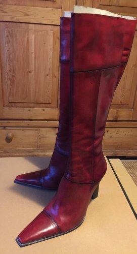Bronx High Heel Boots dark red leather