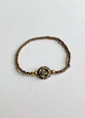 bronzefarbenes Armband mit Rose, 18 cm lang