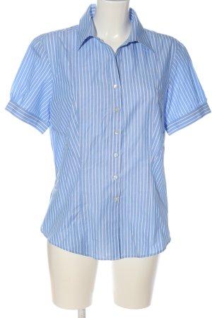 Brook Taverner Chemise à manches courtes bleu-blanc motif rayé