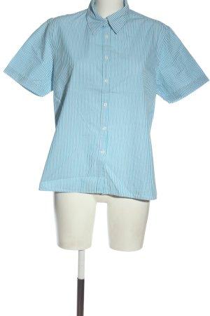 Brookshire Short Sleeve Shirt blue-white striped pattern business style