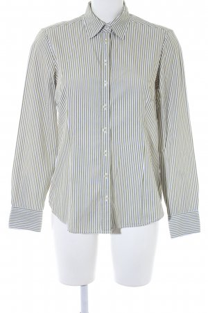Brookshire Long Sleeve Shirt white-olive green striped pattern elegant