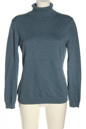 Brookshire Turtleneck Sweater blue-light grey flecked casual look