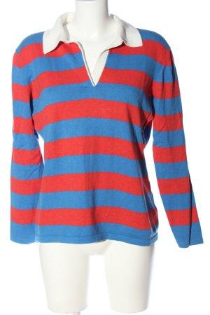 Brookshire Strickpullover rot-blau Streifenmuster Casual-Look