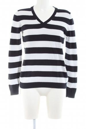 Brookshire V-Neck Sweater black-white striped pattern business style