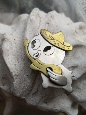 Brosche 925 Silber Mexiko Messing