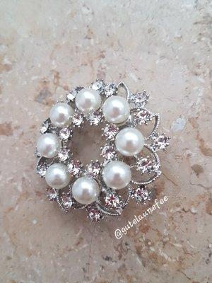 Brosche Blume silberfarben mit Perlen und Zirkonia Vintage