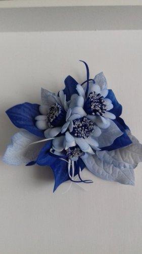 Broche blauw-wit Gemengd weefsel