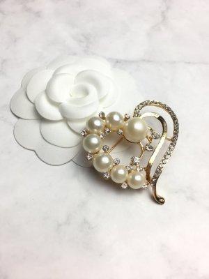 Brosche gold Schmuck Brooch Perlen classy neu Perle