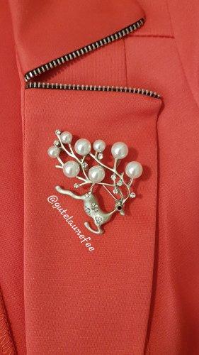 Brosche Hirsch silberfarben mit Perlen und Strass Winter Weihnachten Geschenk