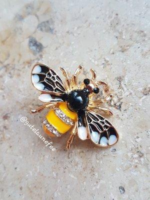 Brosche Insekt Biene gelb schwarz goldfarben 14K vergoldet