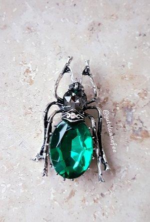 Brosche Käfer antiksilberfarben mit grünem Strass Stein vintage