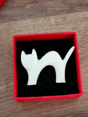 Brosche Katze Weiß Vintage