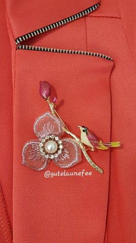Brosche Kolibri Spatz Vogel rosa rot Strass Vintage Anhänger synthetische Perle Blume Spitze