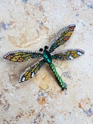 """Brosche """"Libelle"""" grün mit funkelnden Strass Steinen"""
