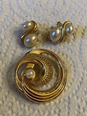 Brosche Perlen Ohrringe