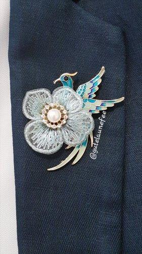 Brosche Pfau Paradies Vogel blau türkis Strass Vintage Anhänger Pfau synthetische Perle Blume Spitze