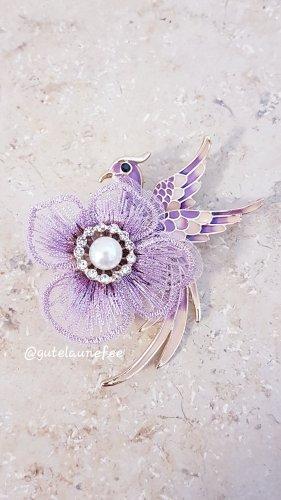 Brosche Pfau Paradies Vogel rosa pink Strass Vintage Anhänger Pfau synthetische Perle Blume Spitze