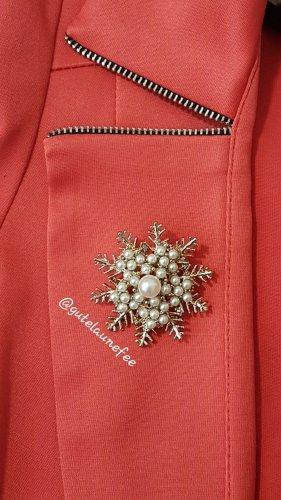Brosche Schneeflocke Winter Weihnachten Strass synthetische Perlen goldfarben Vintage Geschenk