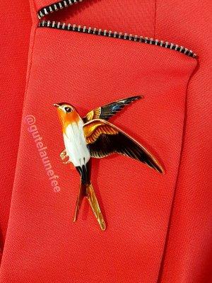 Brosche Schwalbe braun orange Vintage Vogel
