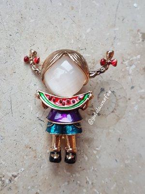 Brosche süßes Mädchen mit Melone / echter Opal goldfarben